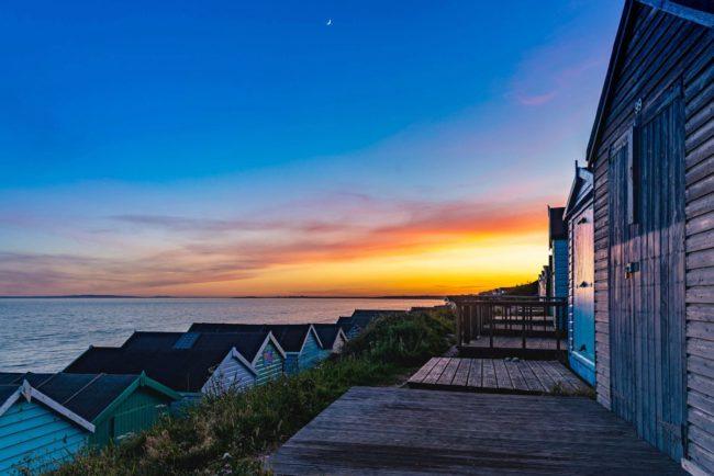 Beach hut at Hordle Cliffs sunset