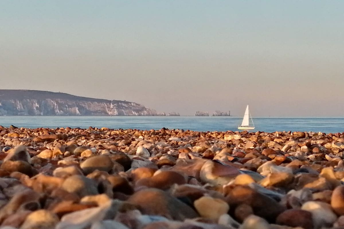 Milford on Sea beach view of the Needles