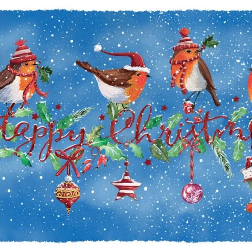 Robins on Garland Oakhaven Hospice Christmas card