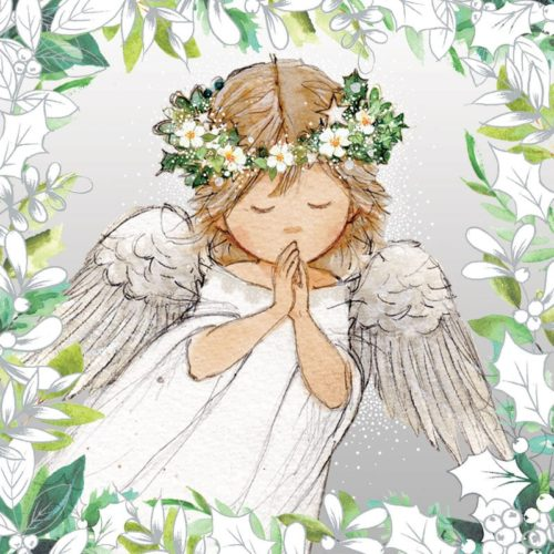 Silver holly angel Oakhaven Hospice Christmas Card