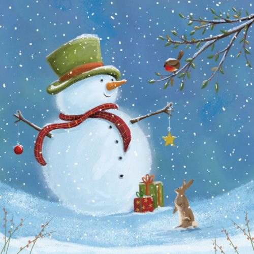 Top hat snowman Oakhaven Hospice Christmas Card