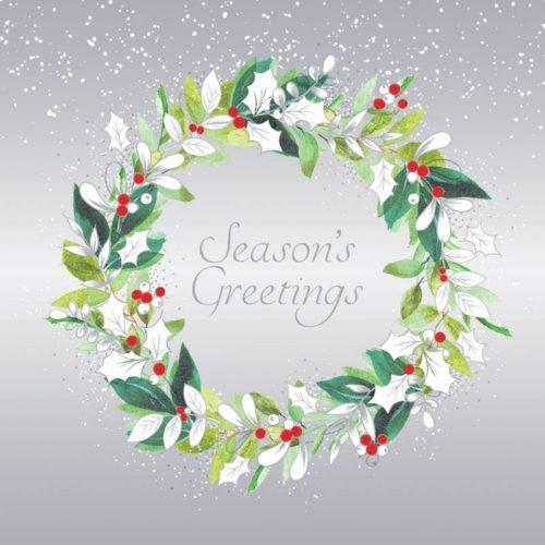 White holly wreath Oakhaven Hospice Christmas Card