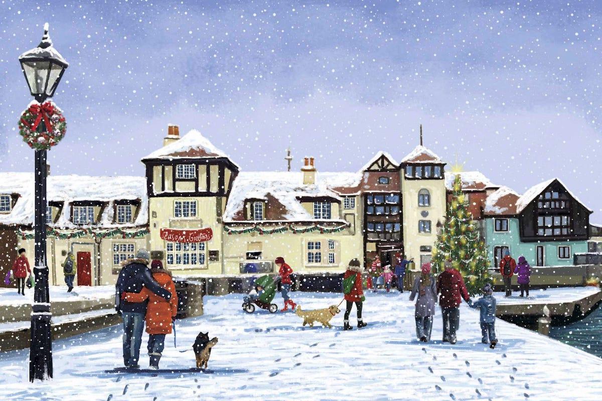 Oakhaven Hospice Christmas Card of Lymington Quay