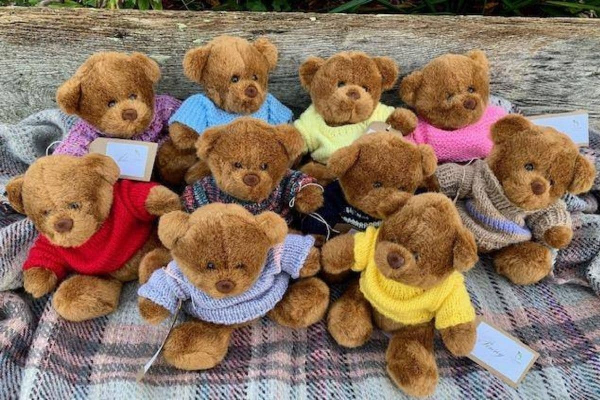 oakhaven bears in knitted jumpers
