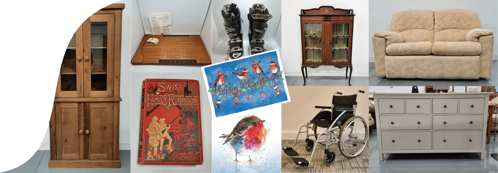 Furniture, books, mobility aids, games, Christmas cards