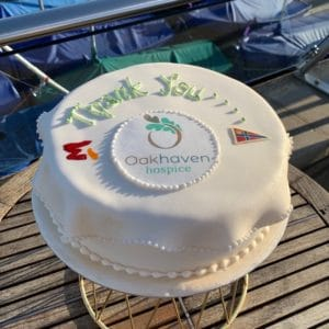 Thank you cake for Oakhaven Hospice baked by Nick Hebditch of Mosimann's at RLymYC.